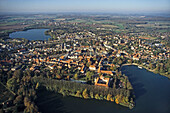 aerial photo of lakes, Holstein Switzerland, Eutin castle, Eutin, Plön Lake, Schleswig Holstein, northern Germany