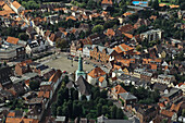 aerial photo of Glückstadt historic market square, Elbe river, Schleswig Holstein, northern Germany