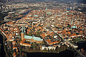 aerial photo of Lübeck, historic old town, Trave River, UNESCO World Heritage Site, Schleswig Holstein, Germany