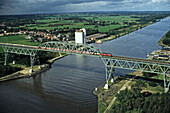 aerial photo of Kiel Canal, rail bridge, train, Hochdonn, Schleswig Holstein, northern Germany