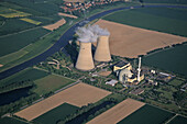 aerial photo nuclear power plant Grohnde in Lower Saxony, Germany