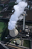 aerial photo of coal fired power plant, at Lahde, North Rhine-Westphalia, Germany