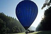 start of upright hot air balloon, Lower Saxony, Germany