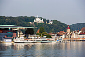 View over Lake Lucerne to KKL (culture and congress centre of Lucerne) at Europaplatz, Lucerne, Canton of Lucerne, Switzerland