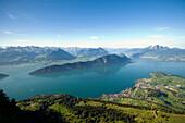 View from vantage point Känzli at mount Rigi (1797 m, Queen of the Mountains) over Lake Lucerne with Weggis, mount Bürgenstock and mount Pilatus (2132 M), Rigi Kaltbad, Canton of Schwyz, Switzerland