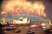 Sydney,  harbor bridge, opera building at dawn