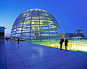 Berlin,Reichstag,roof terasse,dome by Norman Forster,dusk
