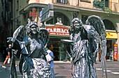 spain,Barcelona,ramblas,street artists,angel costumes