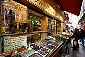 France, Nice,  market stall olives