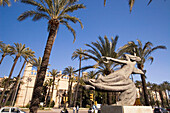 Mallorca, Government building Consolat l Mar , palm trees, sculpture