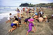 New Zealand, Coromandel, Hot water, beach, kids