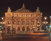 France, Paris, opera garnier at night, panorama