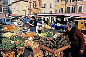 Campo di Fiori, Market for fruit and vegetables, Rome, Italy