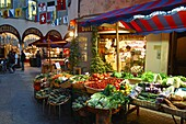 Switzerland,Tessin,Lugano,old city center,Via Pessina, delicatessen