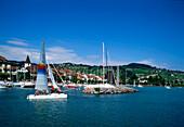 Switzerland, Lac Leman, Lutry, sailing boat