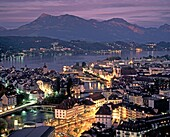 switzerland, Lucerne,panoramic view, old city center, dusk
