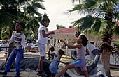 Playing kids, Marigot, Saint Martin, Caribbean