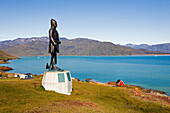 statue of Leif Eriksson, The first European who arrived on the american continent, Qassiarsuk, the place were the first vikings with Erik the Red settled, South Greenland