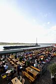Riverside promenade and gastronomy along the Rhine, old part of town, Düsseldorf, state capital of NRW, North-Rhine-Westphalia, Germany