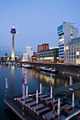 Modern architecture in the Media Harbour with television tower, state capital of NRW, Düsseldorf, North-Rhine-Westphalia, Germany