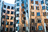 new Zollhof, modern architecture of Frank O.Gehry, office building, new district of Düsseldorf, harbor, state capital of NRW, North-Rhine-Westphalia, Germany