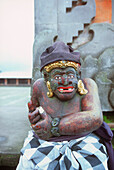 tempel statue with cloth, kitamani, bali, indonesia, asia, praying, religious, religion, hinduism, ornament, decorated, belief, stone, face, gods, quit, peace, mystic, tooth, believing, ceremony, holy, temple, moss, thumb