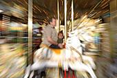 Merry-go-round in autumn fair in Luxembourg