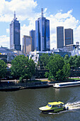 Yarra River and the high rise buildings of downtown Melbourne, Victoria, Australia
