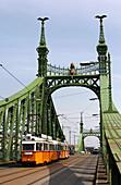 A tram on Liberty Bridge, Budapest, Hungary