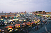 Busy market square with market stalls, Djemaa el Fna, Medina, Marrakech, Marocco, Africa
