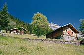 Typical houses, mountain farms, Alps, Valais, Switzerland