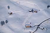 Aerial shot of alpine huts, Gstaad, Canton of Bern, Switzerland