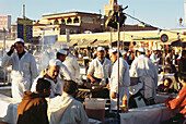 Food stalls at the market, Djama El-Fna, Marrakech, Marocco, Africa