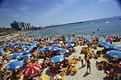 People on a crowded beach, Hilton Beach, Tel-Aviv, Israel