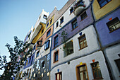 Colourful facade of Hundertwater House in Vienna, Austria