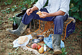 Man, vintner, having lunch, picnic, Landscape, Rural Landscape, Winegrowing