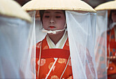 A gril, joung woman attending a ceremony, Folklore, Japan
