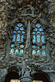 Close up of a window at Cathedral Sagrada Familia, from Gaudi, Barcelona, Spain