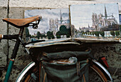 Cycle, Bike with paintings of Notre Dame on top, Paris, France