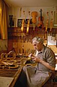 Violin maker, Mittenwald, Upper Bavaria, Bavaria, Germany