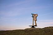 Child looking through binoculars, mountain Hoernle, Bad Kohlgrub, Upper Bavaria, Germany