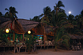 Betos Beach Restaurant in the moonlight, Pie de la Cuesta, near Acapulco, Mexico, America