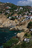 Coastal Landscape with La Quebada town, Acapulco, Mexico