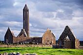 Monastery ruins of Kilmacduagh, Gort, County Galway, Republic of Ireland
