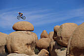 Extreme Mountainbiking, Mountainbiker in mid-air, Rocks, Rocky Landscape, Sport