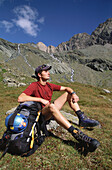 Hiker having a rest, Hohe Tauern National Park, Austria