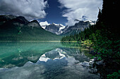 Emerald Lake and reflection, Yoho National Park, President Range Mountains, British Columbia, Canada