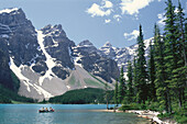 A boat on Moraine Lake, Ten Summits, Rocky Mountains, Alberta, Canada