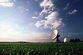 Earth station communication satellites, Raisting, Five Lakes, Bavaria, Germany