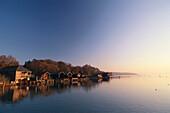 Boat houses near Percha at Lake Starnberg, Bavaria, Germany